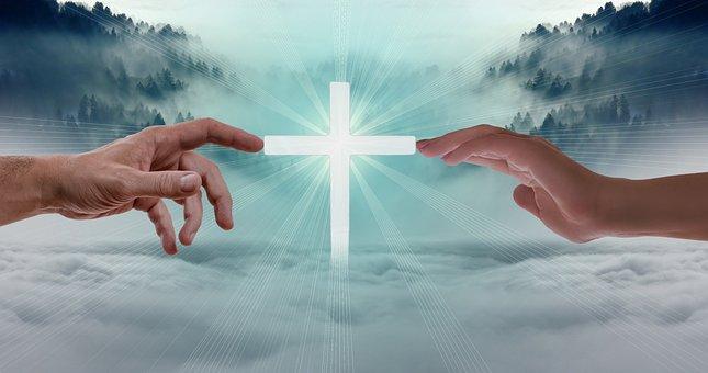 Faith, Love Hope, Fog, Forest, Clouds, Cross, Hands