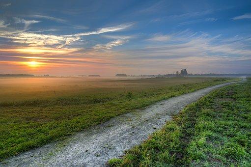 Bike, Path, Morning, Early, Nature, Away, Cycling