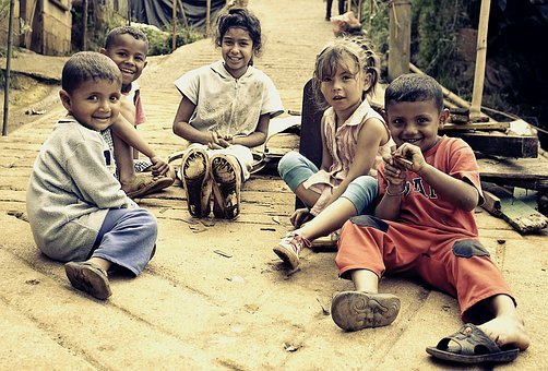 Children, Poverty, People, Portrait, Dirty, Smile