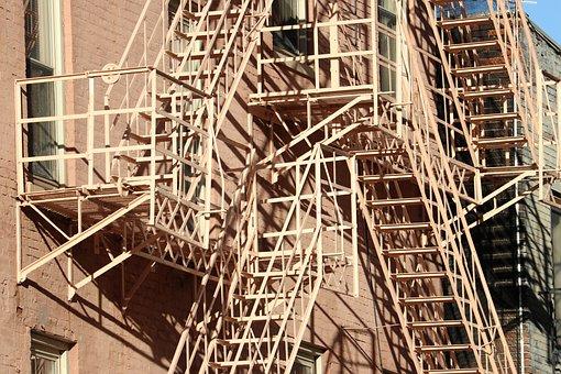 Fire, Escape, Skyscraper, Stairs, Steel, Railing