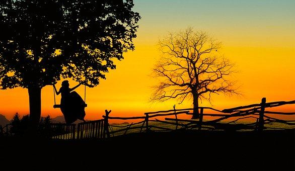 Tree, Swing, Lady, Woman, Girl, Relaxing, Evening