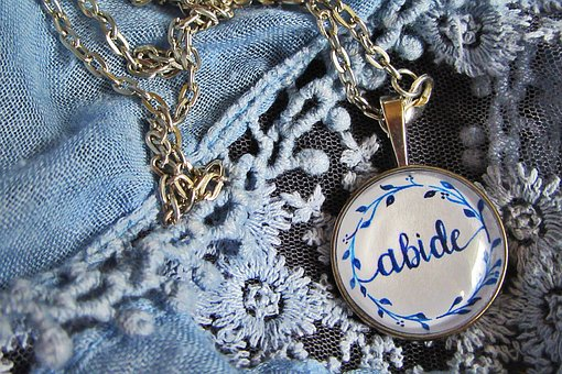 Pendant, Ink, Necklace, Handmade, Blue, Signs, Jewelry