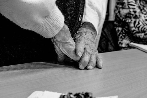 Old, People, Grandma, Black, White, Human, Hands