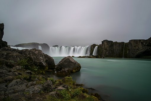 Waterfall, Godafoss, Goðafoss, Iceland, Nature