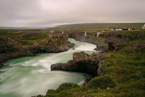 River, Landscape, Iceland, Blue, Rock, Stones, Nature