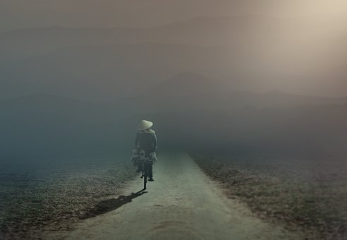 Lane, Cyclists, Fog, Mountains, Moonlight, Meadow