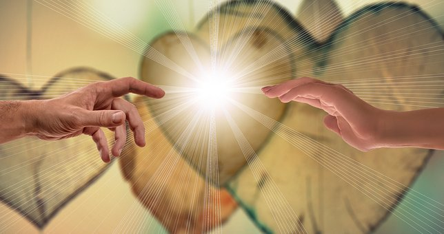 Faith, Love Hope, Hands, Contact, Close, Rays, Warmth