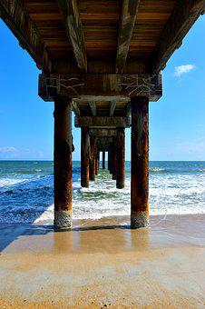 Fishing Pier, Below, Ocean, Sea, Underneath, Background