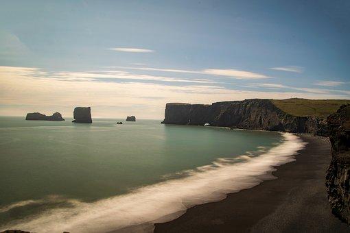 Coast, Iceland, Long Exposure, Sea, Beach, Nature
