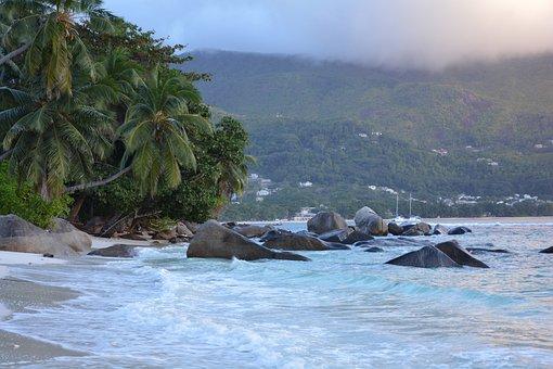 Seychelles, Beach, Sea, Sunset, Evening, Island, Stones