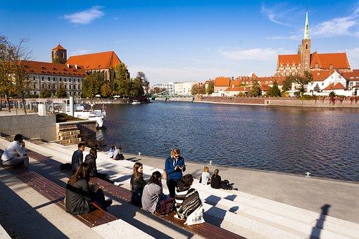 Wroclaw, Poland, Church, Sky, River, Landscape, City