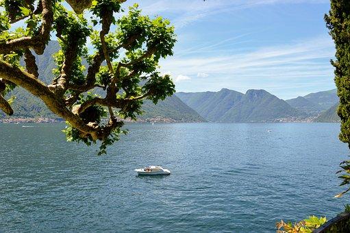 Lario, Como, Lake, Nature, Boat, Blue, Water, Tree