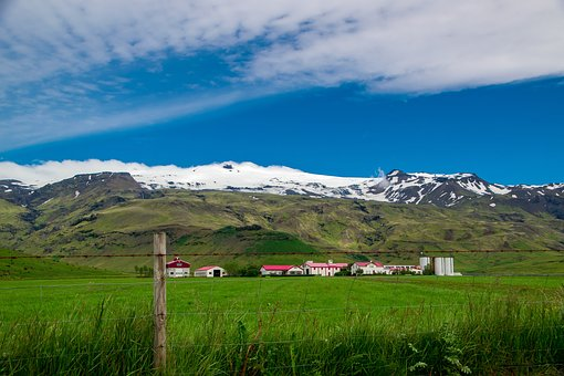 Mountain, Snow, Bergdorf, Volcano, Village, Iceland
