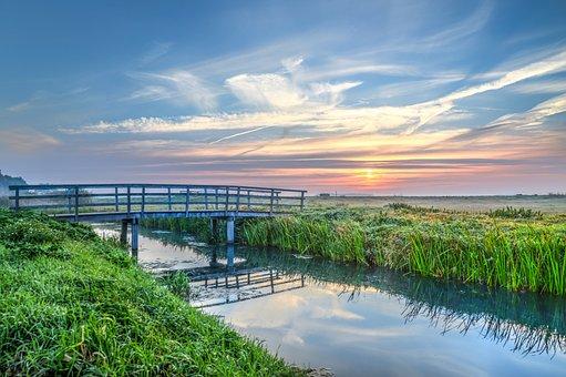 Bridge, Waterway, Canal, Reflection, Sunrise, Hdr