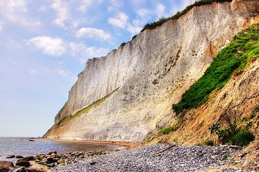 White Cliffs, Món, Denmark, Baltic Sea, Rock, Sky
