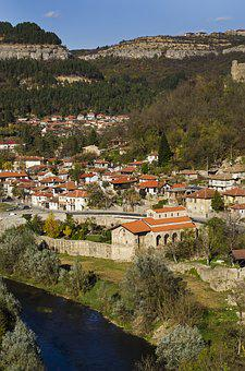 River, Church, Cliffs, Architecture, Sky, Village