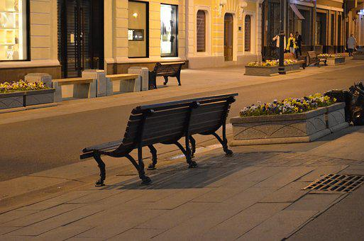 Moscow, City, Bench, Evening