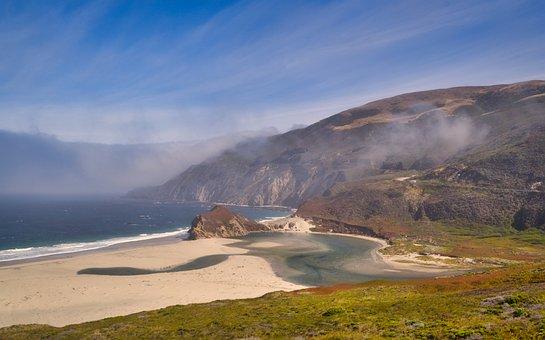 Coast, Fog, Sea, West Coast, California, Nature
