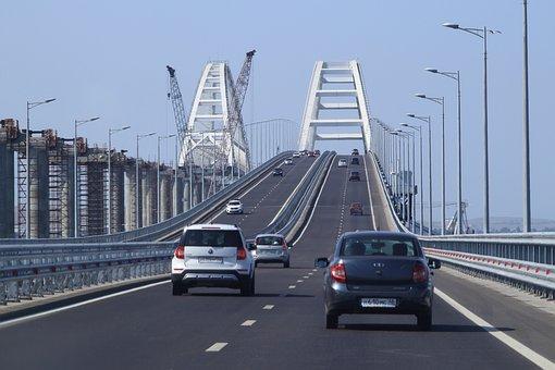 Bridge, Crimean, White, Cars, Track, Crossing, Crimea