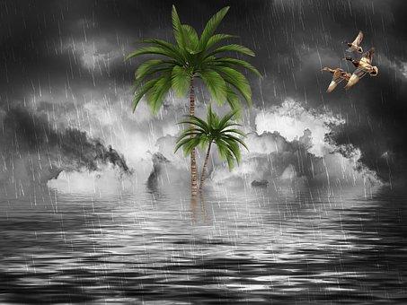Rain, Cloudy, Climate, River, Fantasy, Nature