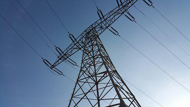 Current, Power Line, Line, Energy, High Voltage, Blue