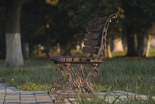 Bench, Park, Forged, Warm Light, Autumn, Vacation