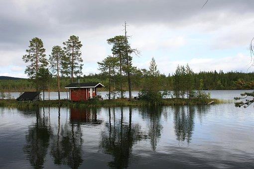 Nature, Landscape, Clouds, Sky, Cottage, Maja, Pond
