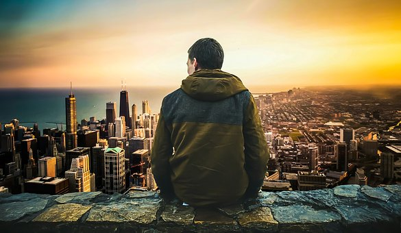 City, Man, Sitting, Back, Looking, View, High, Male