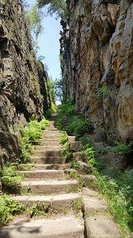 Stairs, Ascension, Rock, Nun Rocks, Upper Lusatia