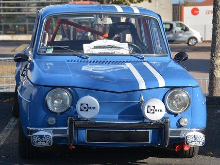 Renault, Gordini, Blue, Auto, R8, Automobile, Car