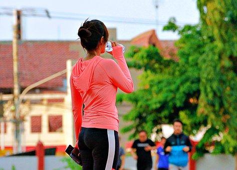 Drink, Run, Sport, Health, Woman, Race, Training