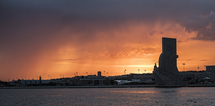 Tejo, Lisboa, Portugal, Monument, Europe, River, Sunset