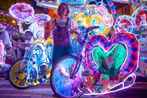 Tuk Tuk, Vehicle, Engine, Bicycle, Asian, Wheel, Pink