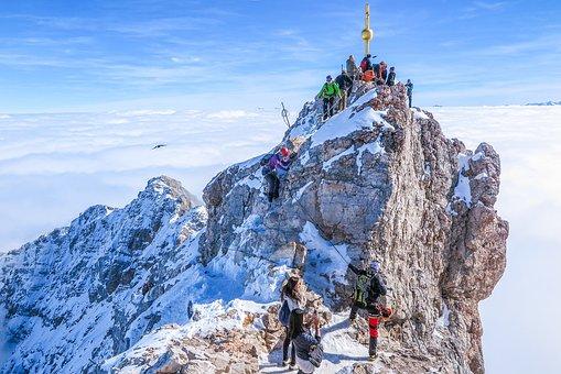 Zugspitze, Summit, Alpine, View, Rock, Clouds, Imposing