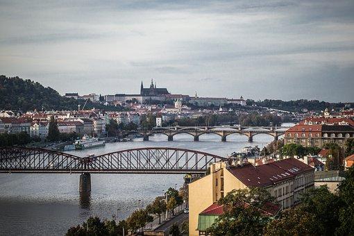 Prague, River, Vltava, Bridges, Architecture