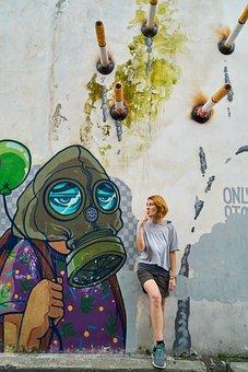 Graffiti, Woman, Drawing, Wall, Cigarette, Conceptual