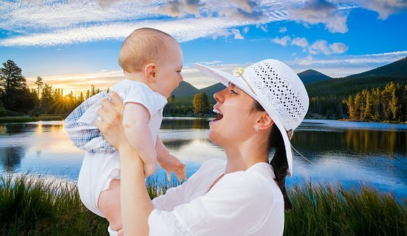 Mother, Baby, Happy, Smiling, Summer, People, Water