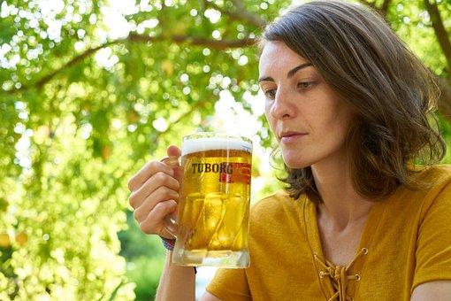 Woman, Girl, Beautiful, Human, Beer, Bar, The Drink