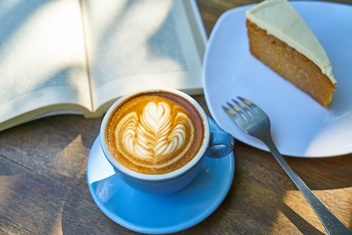 Coffee, Cake, Book, Read, Work, Break, Calm, Relax
