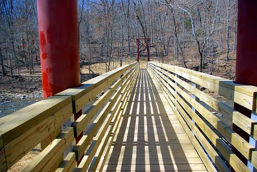 Footbridge Over Lee Creek, Wood, Suspension, Bridge