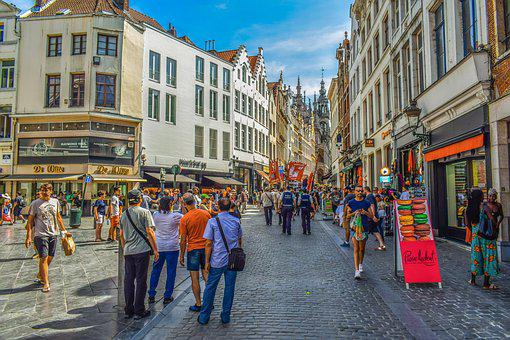 Brussels, Belgium, Street, Architecture, Buildings
