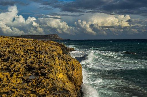 Rocky Coast, Cliff, Waves, Sea, Nature, Landscape, Sky
