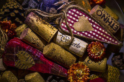 Cork Stoppers, Heart, Flowers