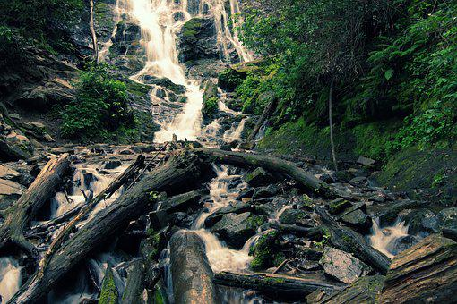 Waterfall, Creek, Wood, Landscape, Water, Cascade