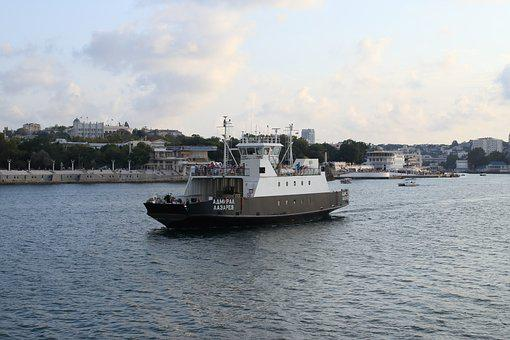 Ferry, Sea, Sevastopol, Water, Beach, Crossing
