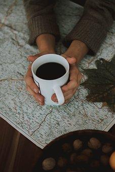 Woman, Coffee, Cup, Tee, Keep, Map