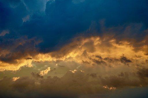 Sky, Clouds, Sunset, Evening, Sun, Afterglow, Red