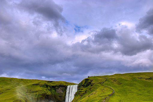 Waterfall, Iceland, Water, Landscape, Figure, And