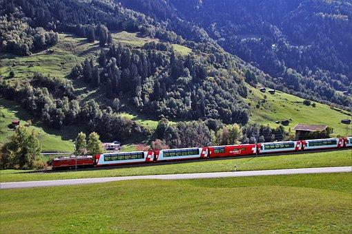 Train, Mountains, Railroad, Landscape, Transport