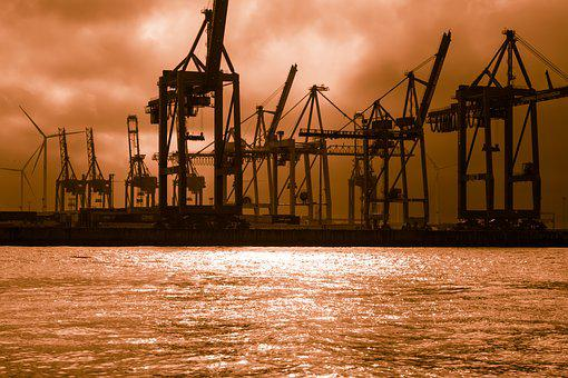 Container Cranes, Docks, Light, Lichtspiel, Gloomy